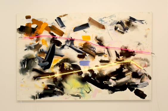 Mary-Weatherford-at-David-Kordansky-Gallery-(1),-Frieze-London-2015,-photo-Guy-Sangster-Adams