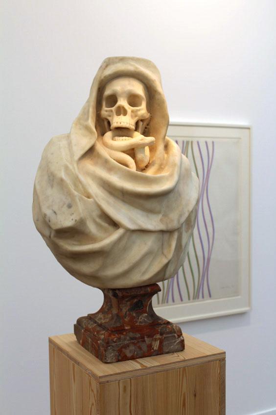 Old-Master-portrait-sculpture,-Bridget-Riley,-Tomasso-Brothers-Fine-Art-and-Karsten-Schubert-(2),-Frieze-Masters-2105,-Frieze-London-2105,-photo-Guy-Sangster-Adams